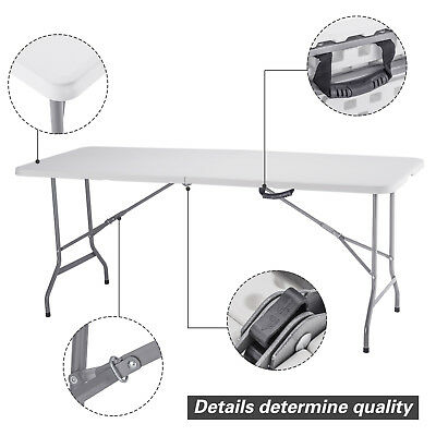 4/6FT Portable Plastic Folding Picnic Table Outdoor Wedding Dining Party Camping