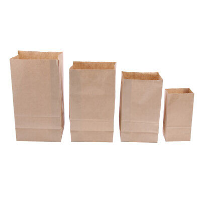 100pcs Kraft Paper Food Packing Bag Oilproof Takeout Takeaway Lunch Box Bags