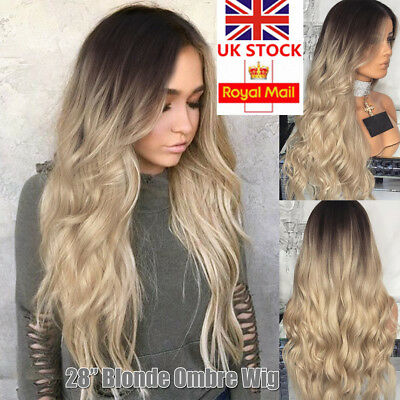 28'' Women Ombre Blonde Long Curly Wavy Wig Hair Cosplay Costume Party Wig+Cap