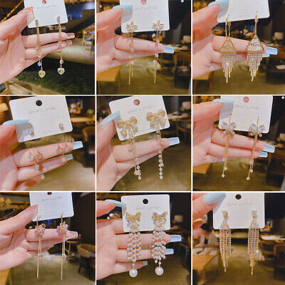 Women Fashion Bohemian Aolly Long Tassel Dangle Fringe Drop Stud Earrings Gift