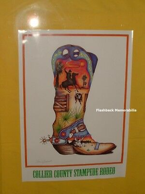 Vintage 1980s COLLIER COUNTY FL Stampede Rodeo POSTER Nora C. Butler COWBOY BOOT