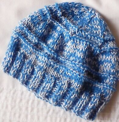 Baby Beanie. Hand-Knitted By Me. Wool Baby Knitting Yarn Mix. Denim Blue