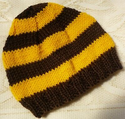 Baby Beanie. Hand-Knitted By Me - Hawthorn Hawks Colours. Lightweight. Newborn