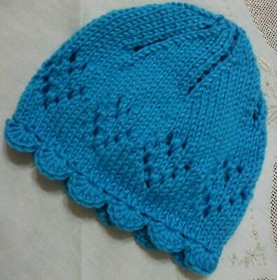 "Newborn Baby Beanie. ""turquoise"" Colour. Hand-Knitted & Scalloped Edge By Me"