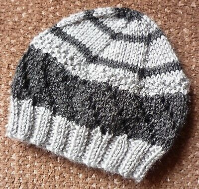 Baby Beanie. Hand-Knitted By Me. Extra Soft. Grey/charcoal.