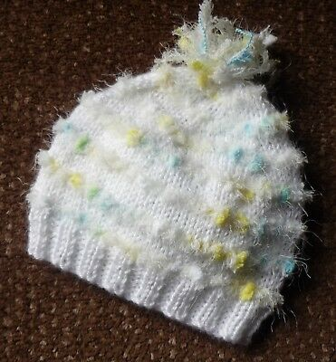"Baby Beanie. Hand-Knitted By Myself. Cute & Extra Soft With ""bubbles & Dags""."