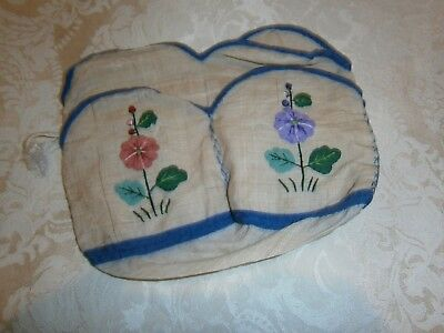 Vintage Linen Condiments Carry Bag With Place For Napkins - Very Old Embroidery