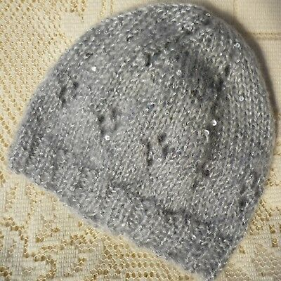 Baby Beanie. Girl Baby. Hand-Knitted By Me. Grey With Sequin Sparkles & Shimmer