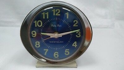 Vintage Westclox Baby Ben Wind-Up Alarm Clock White With Blue Display