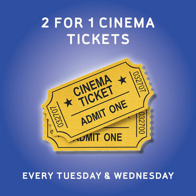 2 x 2 For 1 Cinema Ticket Codes For Cineworld, Odeon, Vue, Showcase, Empire
