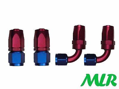 Mlr An-10Jic Straight & 90° Red Blue Oil Cooler Remote Filter Hose Pipe Fittings