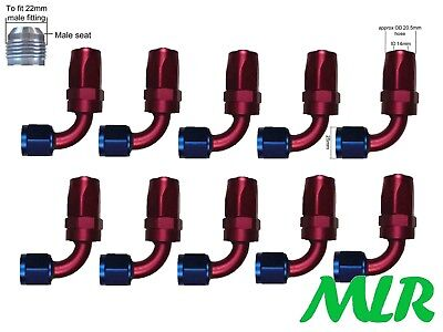 Mlr An -10 Jic 90° Degree Red Blue Oil Cooler Remote Filter Hose Pipe Fittings