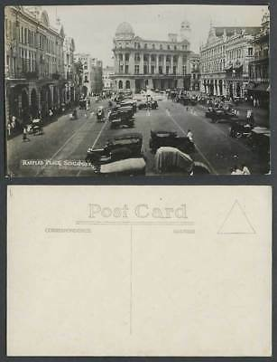 Singapore Old Real Photo Postcard RAFFLES PLACE Street View & Vintage Motor Cars