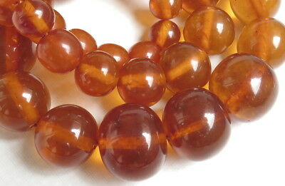 Old Natural Pressed Baltic Amber round beads small Necklace