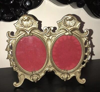 Antique Vintage Double Brass Ornate Photo Frame With Glass