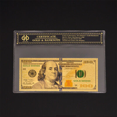American Gold Dollar $100 Color Banknote Golden Foil Money UNC Bill With COA