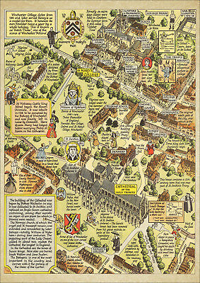 Winchester Cathedral and College old pictorial map 1948 - reproduction