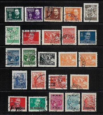 YUGOSLAVIA 1945 issues + 1948 surcharges + 1949 overprints, mostly used
