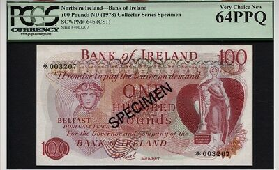 64b (CS1) 1978 NORTHERN IRELAND 100 POUNDS COLL SERIES SPECIMEN PCGS 64PPQ