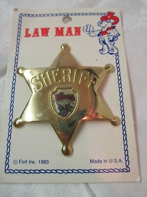 Vintage 1983 Fort brass Sheriff's Lawman Badge Knotts Berry Farm CA Souvenir