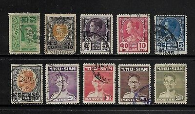 THAILAND, SIAM mixed collection, 1912-1947, used