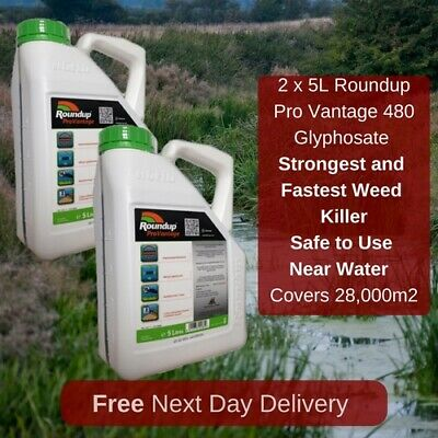 2 X 5L Roundup Pro Vantage 480 Strongest Weed Killer Available On The Market New