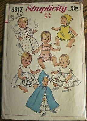 """Vintage 1966 Simplicity Vinyl Baby Doll Clothes Pattern Doll Size 12"""""""