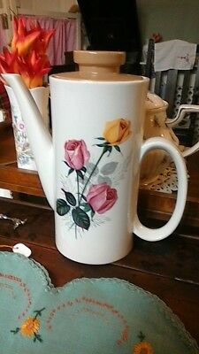 Lord Nelson Pottery Retro Coffee Pot Roses Design.