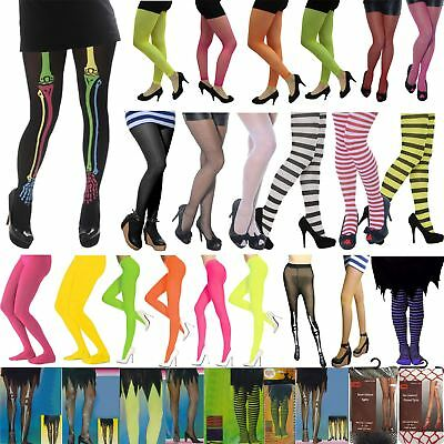 Ladies Girls Tights Plain Fishnet Printed Spooky Stripe Glitter Halloween Party