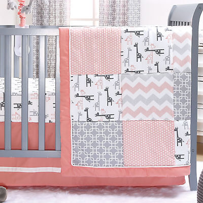 Uptown Girl Giraffe Patchwork 3 Piece Baby Crib Bedding Set by The Peanut Shell