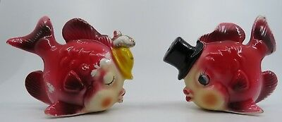 Vintage Salt and Pepper Shakers Anthropomorphic Fish with Hats