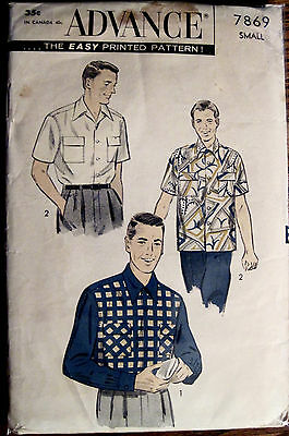 "Vintage Advance Men's Casual Sport Shirt 2 Style Sleeves Pattern Chest 34""-36"""