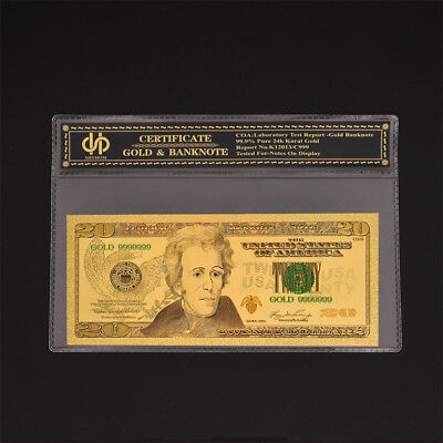 USA Dollar Gold Banknote Color $20 Money Note Uncirculated Bill Collection