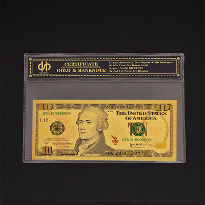 Color Gold Banknote Dollar $10 Bill Currency Unc Money With COA Holder