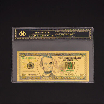 USA $5 Dollar Colored Banknote Paper Money UNC Money Collection