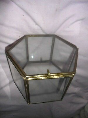 A Beautiful Glass And Brass 6 Sided Display  Case / Box A Superb Looking Piece