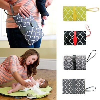 Green Non-woven Waterproof Layer Baby Diaper Pad Foldable Portable Fashion Bag