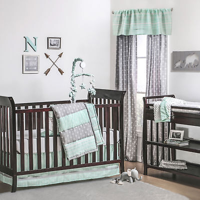 Mint Green and Grey Arrow Stripe 3 Piece Crib Bedding Set by The Peanut Shell
