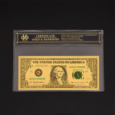 American Color Gold Banknote $1 Dollar World Bill Note With COA Protection