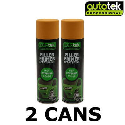 2x AUTOTEK Professional Filler Primer 500ml Spray Paint Yellow High Coverage