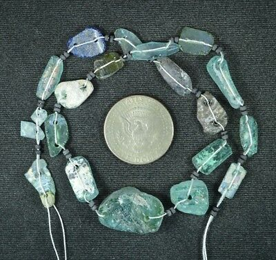 Ancient Roman Glass Beads 1 Medium Strand Aqua And Green 100 -200 Bc 944