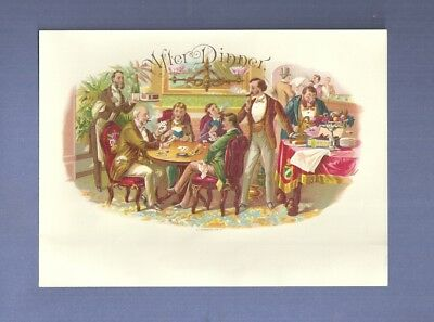 1890 Schwencke Lithographed CIGAR BOX LABEL AFTER DINNER Men Smoking Card Game