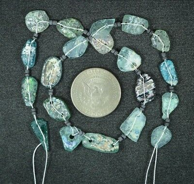 Ancient Roman Glass Beads 1 Medium Strand Aqua And Green 100 -200 Bc 945