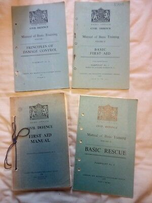 Lot Of 4 Civil Defense Manuals. 1950s Cold War. First Aid, Rescue Etc.