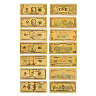 7PCS Gold Banknote American Dollar Bill Money Colored Dollar Bill Novelty Money