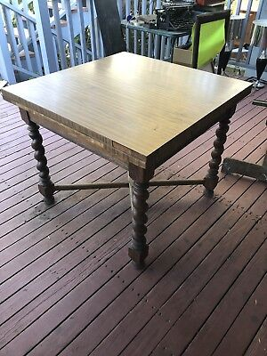 Antique Oak Barley Twist Pub Table Draw Leaf