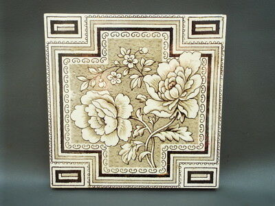"""Antique Victorian brown and cream floral tile with geometric border  6"""" x 6"""""""