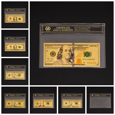 7Pcs USA Dollar Color Gold Plated Banknote $1.2.5.10.20.50.100 Dollar Bill W COA