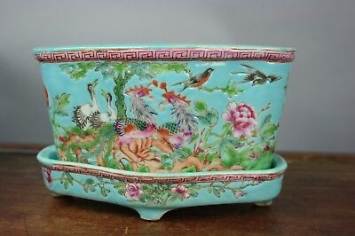 19th C. Chinese Famille-rose Green Ground Planter with Floral and Bird Patterns