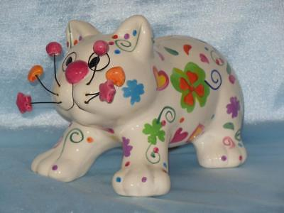 """Large 7,1/2"""" Kitty Cat Ceramic Bank Hearts Flowers Shamrocks Wire Whiskers Beads"""